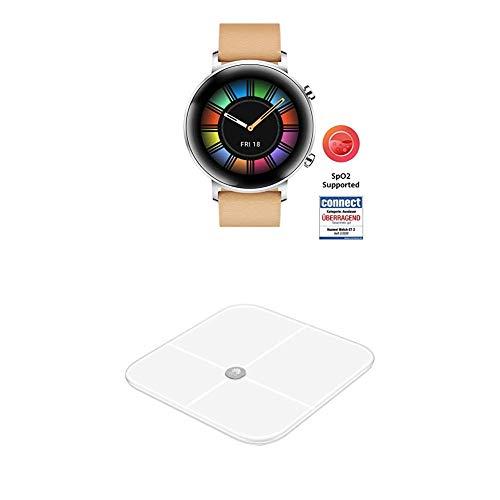 HUAWEI Watch GT 2 Smartwatch (42 mm Full-Color-AMOLED Touchscreen, SpO2-Monitoring, Herzfrequenzmessung) Gravel Beige [Exklusiv +5 EUR Amazon Gutschein] + Körperwaage, weiß