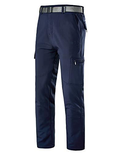 YAWHO Herren Wanderhose Outdoorhose Trekkinghose Softshellhose Funktionshose Cargohose mit Gürtel/Schnell Trockend Wasserdicht Winddicht (Blue 108, M)
