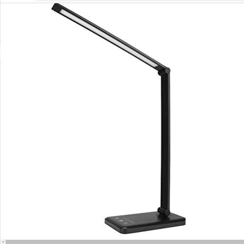 Lámpara de escritorio LED con cargador inalámbrico, protección ocular de brillo ajustable, interruptor giratorio plegable, puerto de carga USB, adecuado para oficina y estudio (negro)