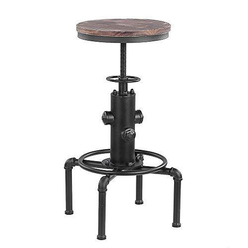 N/Z Tägliche Ausrüstung Metall Industrie Barhocker Stuhl Küche Esszimmerstuhl Barhocker W/Fußstütze Drehbarer Pinewood Top Pipe Style Höhenverstellbarer TA BD Stehtisch