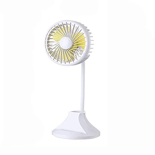 PEARFALL mini USB Escritorio Con luz de noche Silencio 2000mAh recargable Portátil Velocidad del viento en tercera marcha Flexible Ventilador de lámpara de mesa multifuncional (blanco)