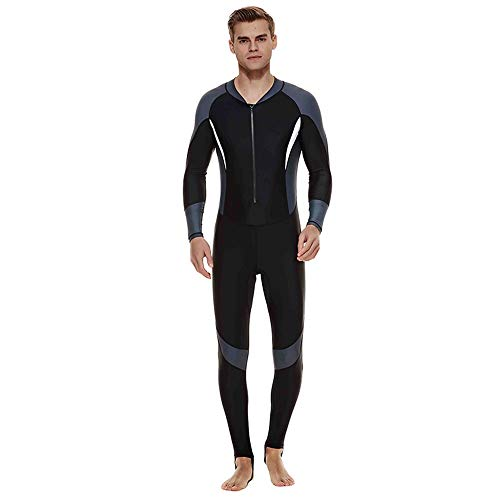 JenLn Traje de Snorkel Hombres Protector Solar Siameses Manga Larga de Secado rápido Traje Adecuado for Nadar vadear Traje de baño de Hombres (Color : Grey, Size : XXL)