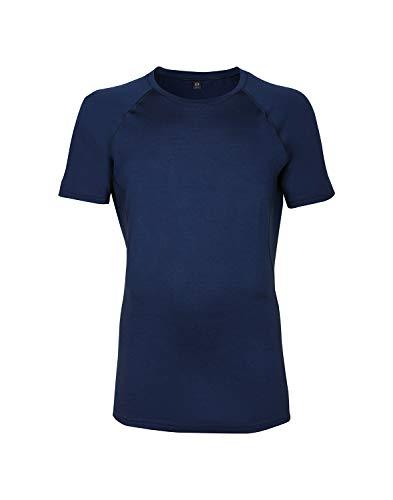Dilling Merino T-Shirt für Herren – optimal für Alltag, Sport und Freizeit aus 100% exklusiver Merinowolle Dunkelblau L