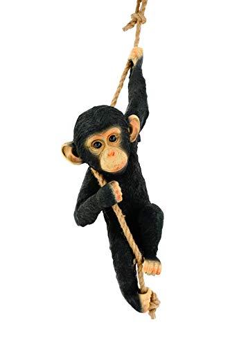 Schwartinsky Gartendeko Schimpanse am Seil Wetterfest Keine Montage, Polyresin, Schwarz, ca. 16 cm T x 23 cm B x 53 cm (83 cm H, 22649