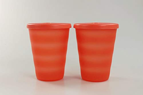 Tupperware Junge Welle Trinkhalmbecher 330 ml orange Trinkhalm Becher (2) 36635