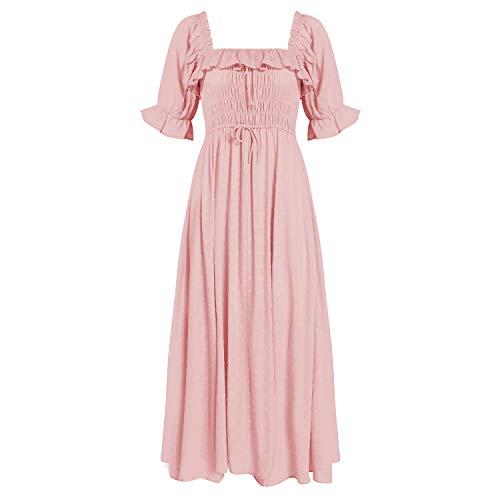 R.YIposha Women Vintage Elastic Square Neck Ruffled Half Sleeve Summer Backless Beach Flowy Maxi Dresses,8-10,Pink