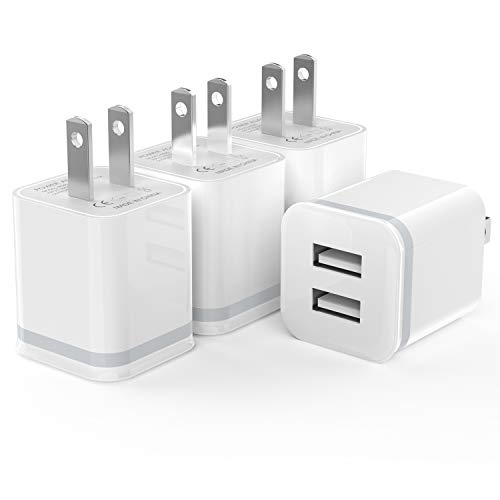 USB Wall Charger, LUOATIP 4-Pack 2.1A/5V Dual Port USB Power Adapter Charger Plug Charging Block Cube Replacement for iPhone Xs Max/Xs/XR/X, 8/7/6 Plus, Samsung, LG, HTC, Moto, Android Phones