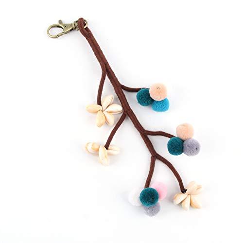 JJCDKL 1 Stück Sommer Strand Baum Shell Schlüsselanhänger Mit Bunten Pompon Für Frauen Tasche Hängen Brieftasche Anhänger Schmuck