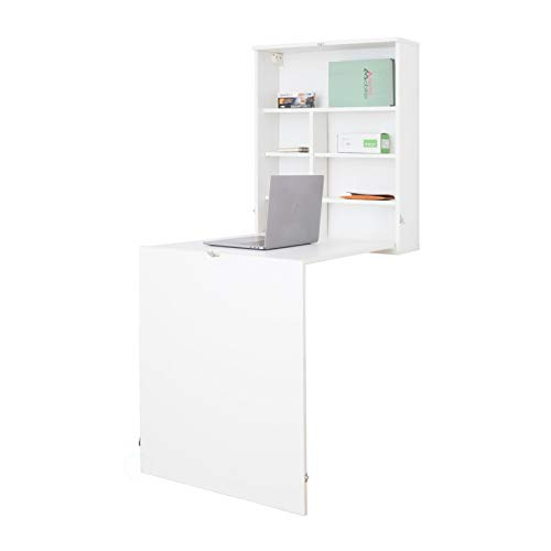 Basicwise Wall Mount Laptop Fold-Out Desk with Shelves, White,