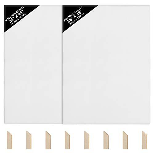 Kurtzy Leinwände zum Bemalen 90 x 120 cm (2er-Pack)- Bespannte Keilrahmen Leinwände zum Bemalen XXL aus Holz - Leinwände Geeignet für Acryl- und Ölmalerei Sowie zum...