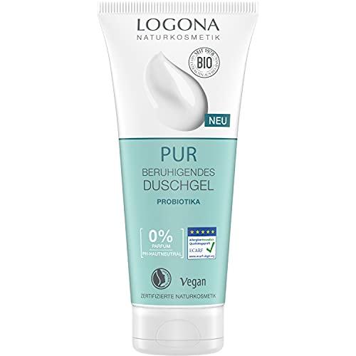 Natürliches Duschgel mit Probiotika zur milden Reinigung empfindlicher Haut, Beruhigt und pflegt, Zertifizierte Naturkosmetik von LOGONA PUR, Vegan & ohne Parfum, 200 ml