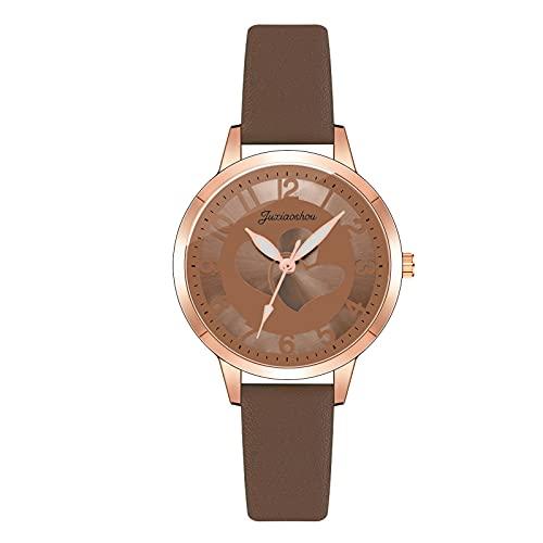 CXJC Reloj de Cuarzo para Mujer Disponible en 9 Colores. Reloj Deportivo para Mujeres con Cuero + Material de aleación. (Color : F)
