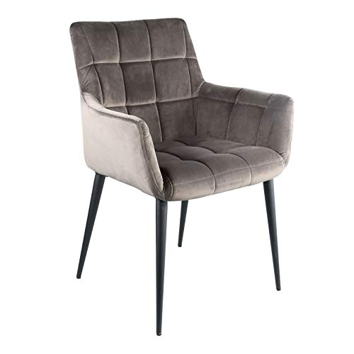 PTMD armleunstoel stoel eetkamerstoel woonkamer fluweel flair grijs