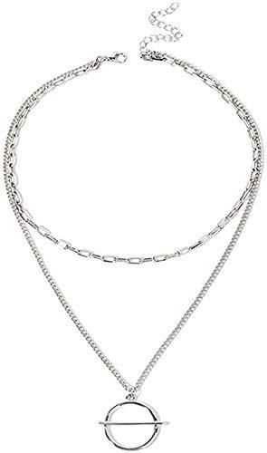 FACAIBA Collar de Mujer S Anillo Multicapa Colgante suéter Cadena nicho exagerado Gran círculo Collar de clavícula Regalo de Mujer