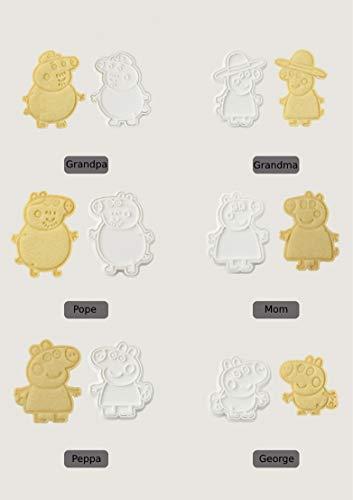 Cake Stampo Forma Biscotti Set 6 Pezzi: Family Peppa Pig Torta Compleanno Decorazioni (6pz Peppa Pig)