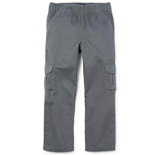 The Children's Place Slim Boys Pull-On Cargo Pant, Gray Steel, 6S