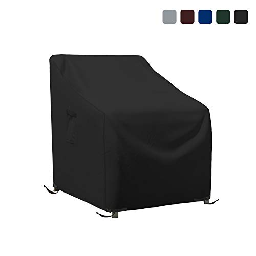 Patio Chair Cover 18 Oz Waterproof - 100% UV & Weather Resistant 1000 D PVC Coated Stackable Chair Covers with Air Pockets and Drawstring for Sung fit (36W x 37D x 36H, Black)