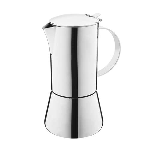 N / B Máquina de café de Acero Inoxidable, Estructura Totalmente de Acero, Mango antiescarcha, cafetera portátil para Espresso Moka, Adecuada para una Variedad de Estufas