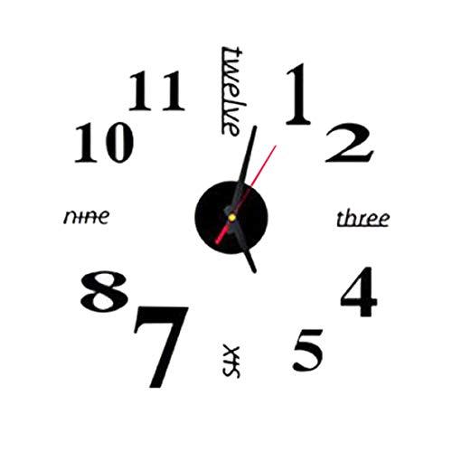QXLhxuIo DIY Reloj de Pared sin Marco Espejo Grande 3D Sticker,Diseño Digital en inglés (Negro)