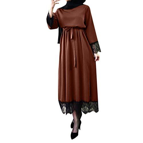 Muslimische Kleider Damen, Frauen Elegant Kleid aus Spitzen 2019 Islamisch Muslim Robe Kleider Abaya Dubai Ramadan Kaftan Moslem Kleid Elegante Muslimischen Kaftan Kleid