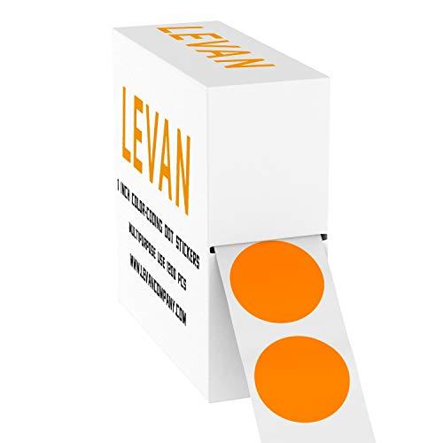Levan 1 Inch Removable Color Coding Dot Stickers - 1200 Pcs Circle Stickers per Dispenser Box - (Orange) Round Labels