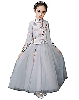 Cosplay Life Chinese Style Long Sleeve Flower Girl Dress Formal Dresses for Kids - 140