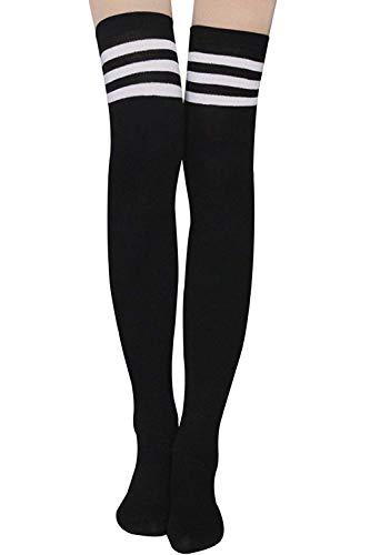 Damen Kniestrümpfe - Overknee Strümpfe Streifen Lange Socken Retro Knitting Strümpfe Mädchen Cheerleader Sportsocken Baumwollstrümpfe, Schwarz, Durchschnittlicher Code