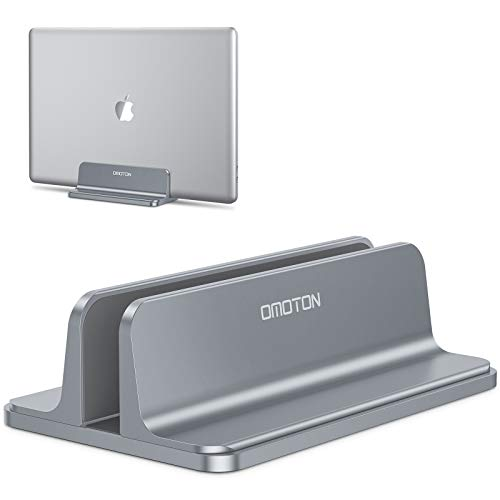 OMOTON Laptop Stand Holder, Full Aluminum Vertical Notebook Stand for Space-Saving, Adjustable Computer Stand Holder Dock for All Tablets and Notebooks Up to 17″ inch, Grey