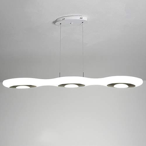 LINCCW Comedor Luz colgante Regulable LED Áureo Lámpara colgante Con el control remoto Altura ajustable Moderno Restaurante Mesa de comedor Isla de cocina Iluminación colgante PE pantalla L118cm 60W
