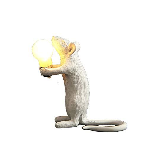 YGRHHP Diseño de arte ratón de resina blanca luz de noche decoración de escritorio iluminación LED creativa lámpara de cabecera para habitación de niños lámpara de mesa de ratón dorado-estación blanca