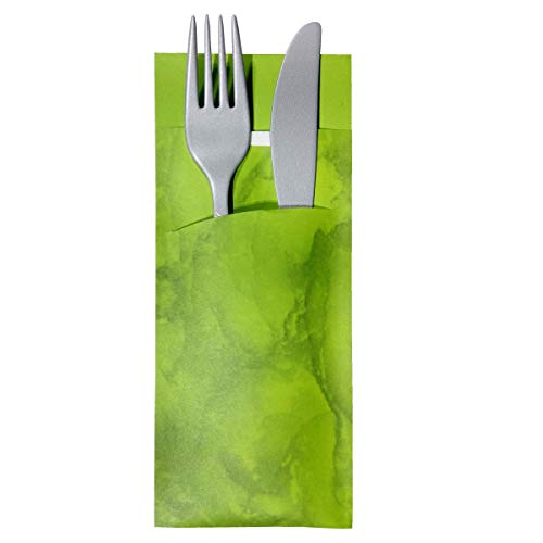 Gastropapier 520 Bestecktaschen mit Serviette Apfel-grün marmoriert 20 cm