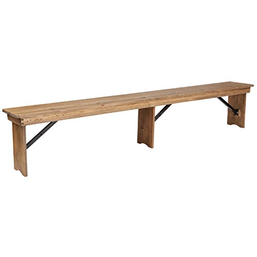 Flash Furniture HERCULES Series 8' x 12'' Antique Rustic Solid Pine Folding Farm Bench with 3 Legs