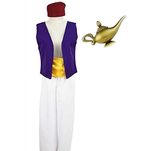 Disfraz de Aladdin para Hombre Adulto Cosplay Escenario Aladdin Prince Trajes de Ropa con lámpara de Aladdin