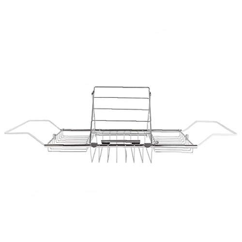 LAANCOO Badewanne Caddy Tray Badezimmer-Lese Stahl-Rack Erweiterbare Regal für Dusche Badewanne Phone Pad Buchhalter Silber für Indoor Home Use Tools
