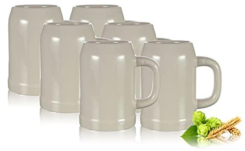 PorcelainSite Geschenkideen GmbH 6 Bierkrüge Humpen 0,5L Steinkrug ohne Füllmarke