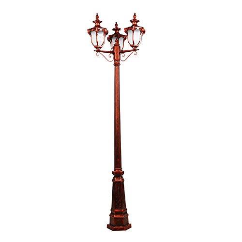 Wasserdichte rostfreie Landschaftsstraßenlaterne Retro Kreative Hohe Pole Outdoor Road Rasen Lampe E27 3-Lights Metall Aluminium Terrasse Rasen Laterne mit Glasschirm (230cm Höhe)