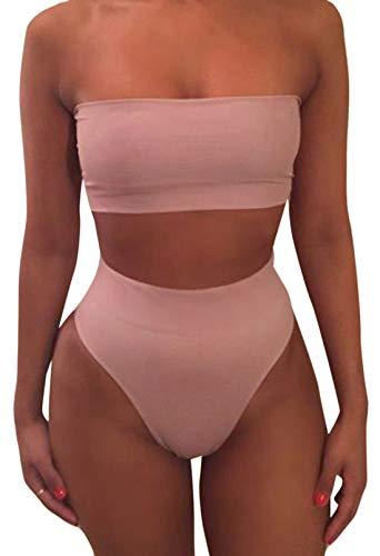 Pink Queen Women's Removable Strap Pad Thong Bikini Set Wrap Swimsuit Pink1 L