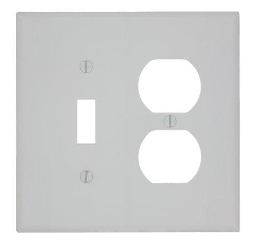 Leviton 80505-W 2-Gang 1-Toggle 1-Duplex Device Combination Wallplate, Midway Size, White