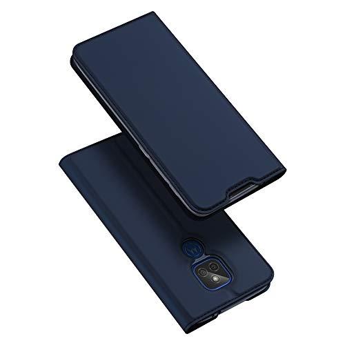 DUX DUCIS Funda Moto G9 Play, PU Cuero Flip Carcasa Fundas Móvil de Tapa Libro para Motorola Moto G9 Play (Azul Marino)