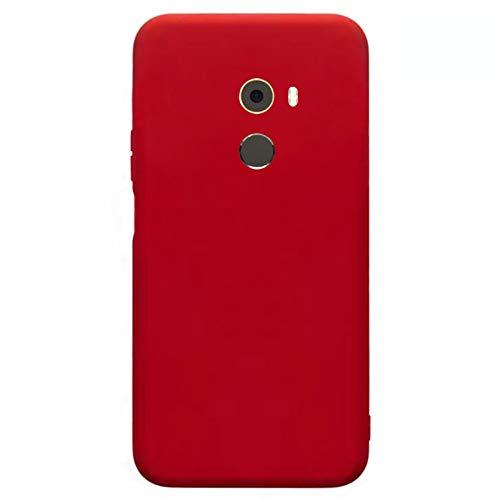 Kompatibel mit Xiaomi Mix 2 Hülle(2018)+3D Panzerglas/Silicone Case Cover Ultra Dünn Stoßfest Bumper Rundumschutz Schutzhülle Weiche Matt Silikon Handyhülle für Xiaomi Mix 2-Rot