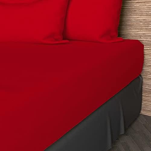 Lenzuolo con angoli in cotone tinta unita 180 x 200 cm Rosso