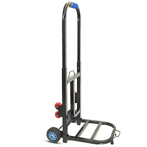 YAODFYL Iron Multi-Functional Goods Trolley with Anti Puncture Rubber Wheels and 150 kg Capacity,Black Sack Trucks for Warehouse And Factory
