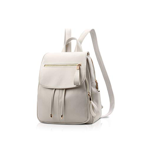 NICOLE&DORIS Mode Frauen Rucksack Mini Rucksack Kunstleder Leder Damen Rucksack Umhängetasche Geldbörsen Mädchen Rucksack Weiß