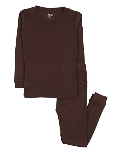 Leveret Kids Pajamas Boys & Girls Solid Brown 2 Piece Pajama Set 100% Cotton Size 8 Years