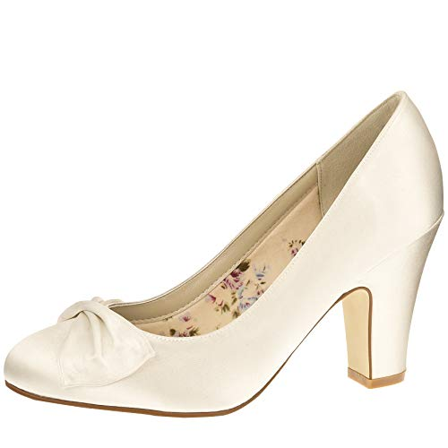 Rainbow Club Brautschuhe Dinah Ivory Satin (Bliss) Gr. 39 (6 UK)