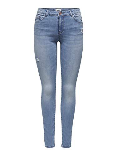 Only ONLWAUW Life Mid SK DEST BJ759 Noos Jeans, Denim Light Medium Blue Denim, XL para Mujer