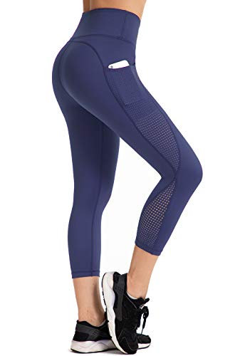 UURUN Women's Capri Workout Leggings with Pockets, High Waist Tummy Control Yoga Pants Non See Through Mesh Running Capris for Fitness Gym Athletic Blue-XL