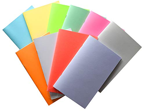 Blank Books for Homeschool, use for Writing, Drawing, Sketching - 10-Pack Colorful Unlined Blank Notebooks, Journals, Make your own comic book, Create diary.