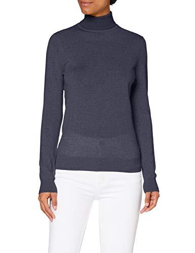 Amazon-Marke: MERAKI Merino Rollkragenpullover Damen, Blau (Navy), 40, Label: L