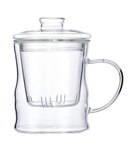Tetera con infusor Tetera de vidrio resistente al calor Tetera de vidrio de borosilicato pequeño Colador de té para hojas sueltas, 2#